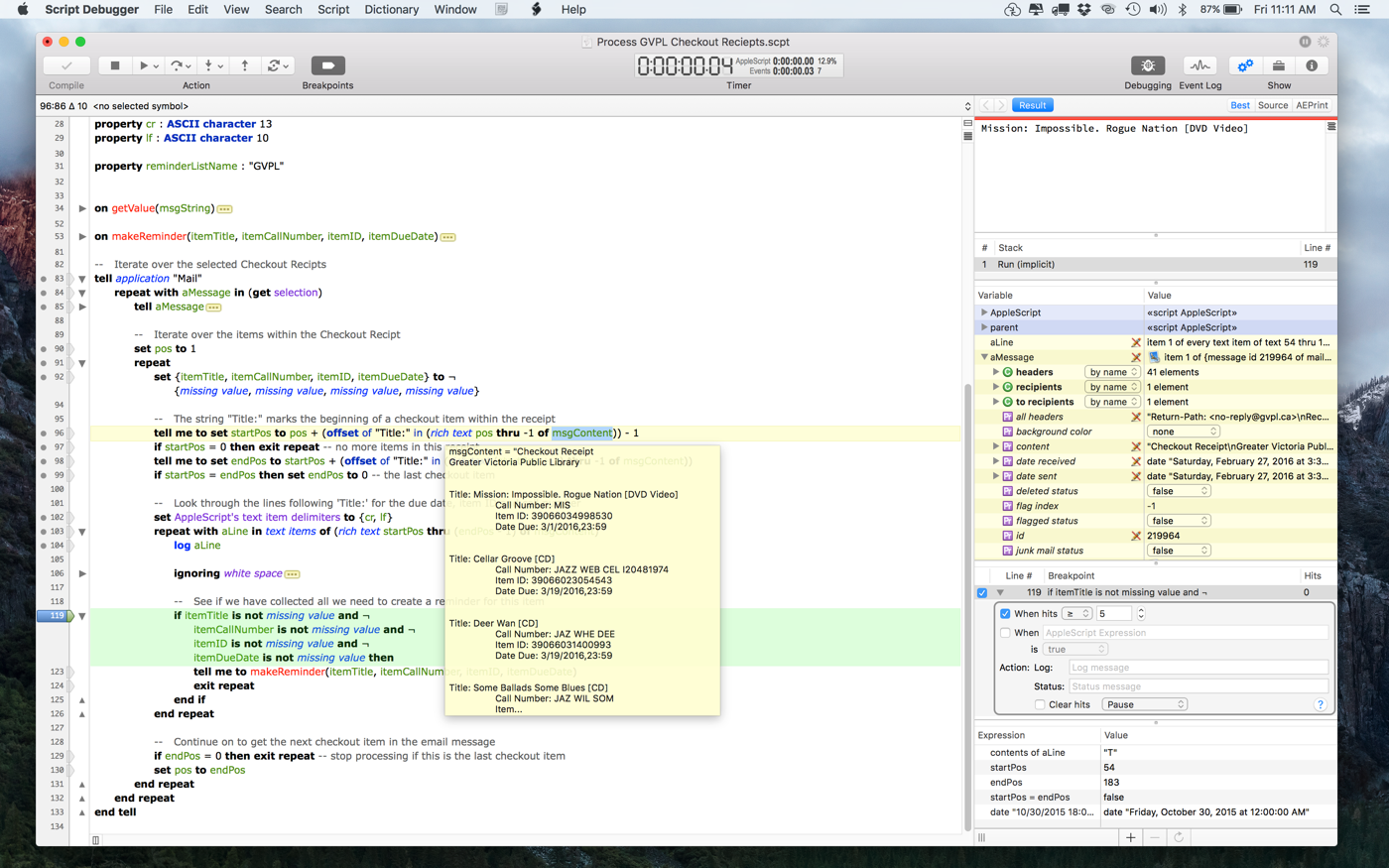 Late Night Software Launches Script Debugger 6 Image